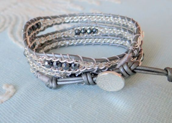 Beaded Chain Wrap Bracelet with Semi-Precious Beads by MaisJewelry