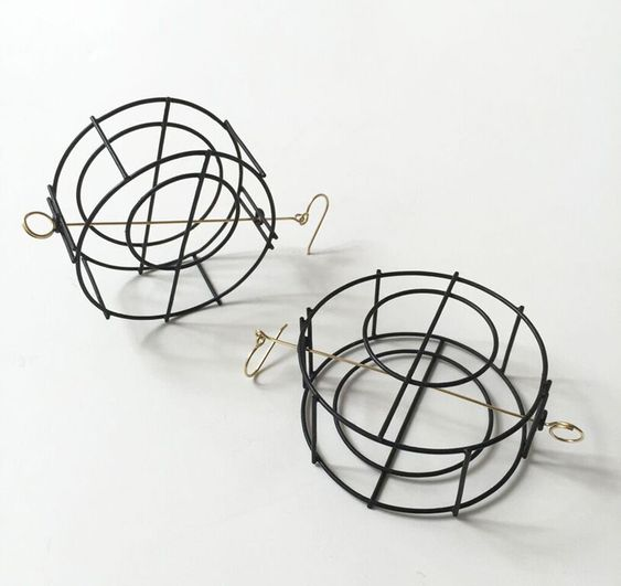 Donna D'Aquino, Large Steel Structure Earrings. Steel, 18ky gold: