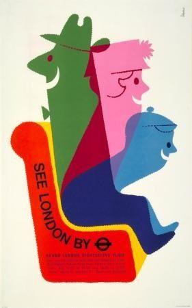 See London By Tube - Harry Stevens: Graphic Design, Poster Design, Vintage Poster, Transport Poster, Stevens 1970, Travel Posters