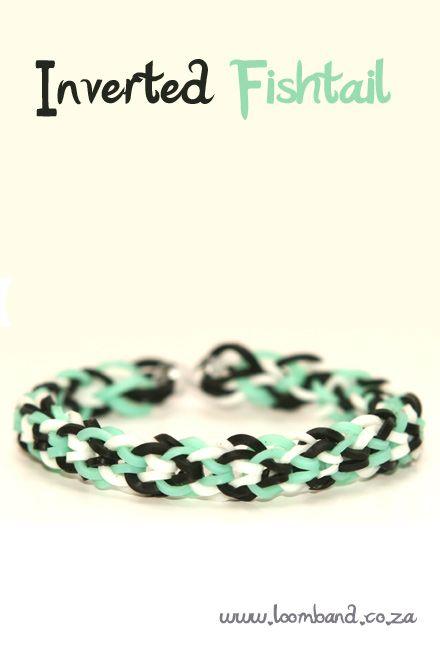 Inverted fishtail loom band bracelet