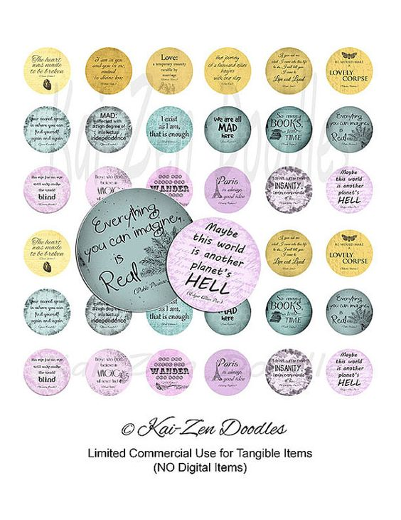 Quotes  36 PRINTABLE 1 inch Squares Digital by KaiZenDoodles, €2.90
