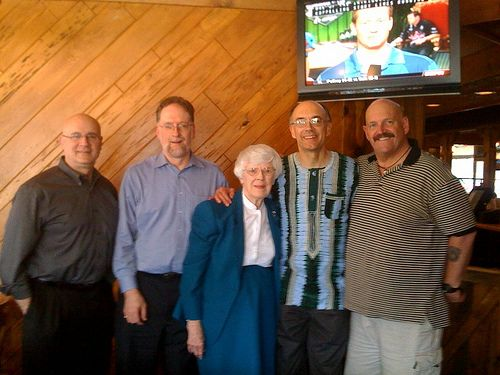 Arnold family photo. From left, Doug Worgul, me, Harriet Arnold Buttry, Dan Buttry, Frank Arnold.