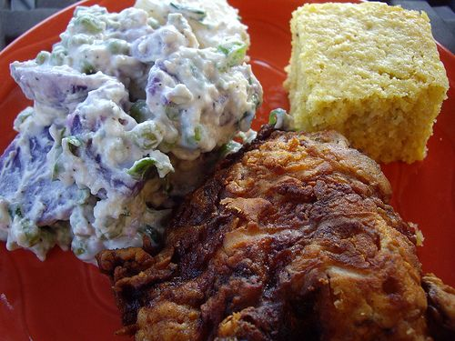 Spicy Southern-Fried Chicken and Red, White and Blue Potato Salad
