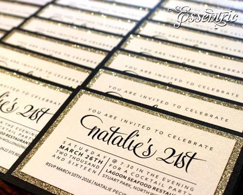 St Birthday Invitation Black Gold Glitter And White From Www - 21st birthday invitations pinterest