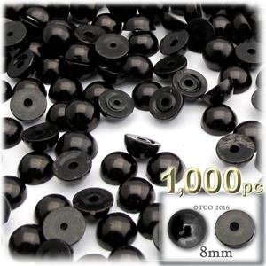 1000-pc Pearl finish Half Dome Beads, Round, 8mm, Pitch Black