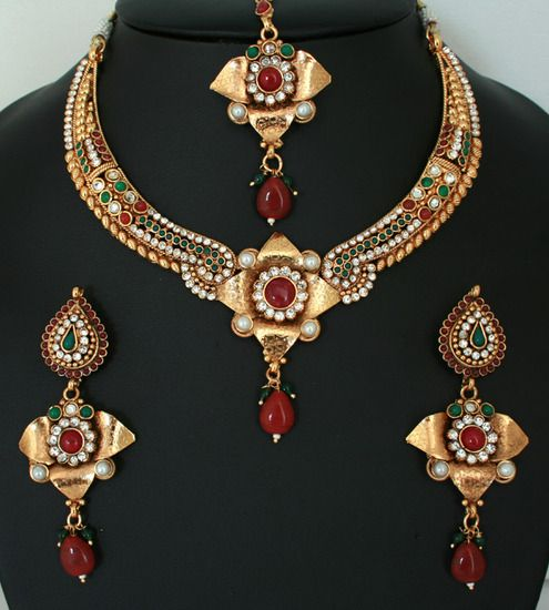 Beautiful Indian Costume Ruby Red,White and Emerald stone polki jewelry Necklace set-011PLK18J  http://www.craftandjewel.com/servlet/the-1719/Beautiful-Indian-Costume-Ruby/Detail