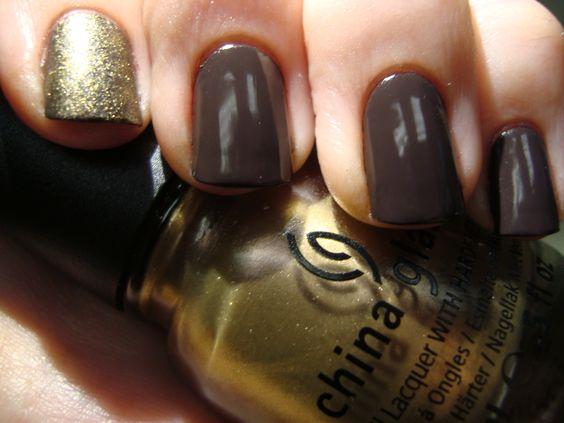 China Glaze Swanky Silk over OPI I Brake For Manicures, sponged