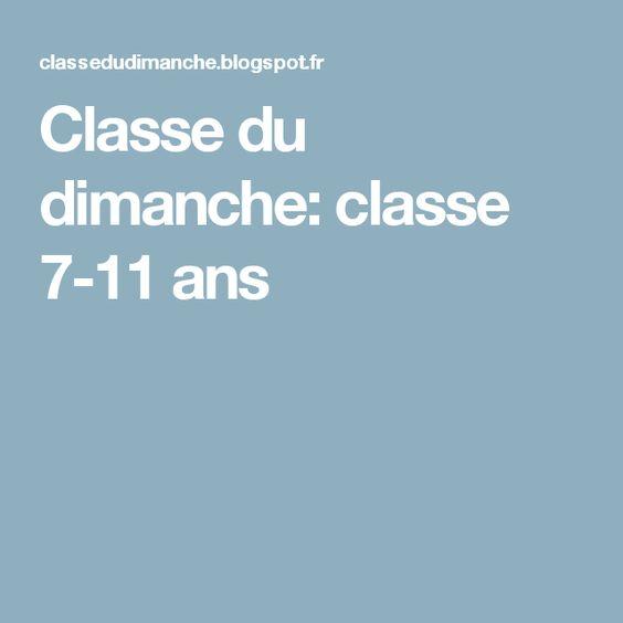 Classe du dimanche: classe 7-11 ans