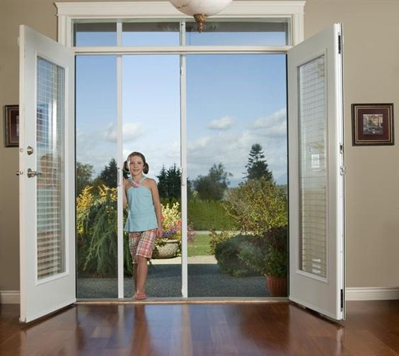 Doors screen doors and security screen doors on pinterest for Retractable bug screen door