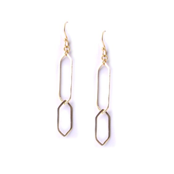 Story Two open trapezoid pieces interlaced together, the perfect party earring! Materials:Brass Style...