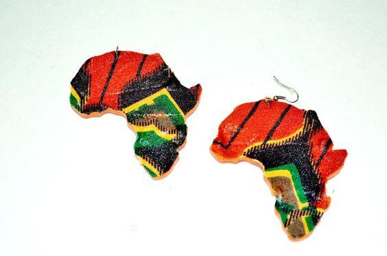 Afro Hair Earrings, Natural Hair Earrings, Wood Earrings. African Map Wood Earrings, Ankara African Fabric Wood Earrings, African Jewelry