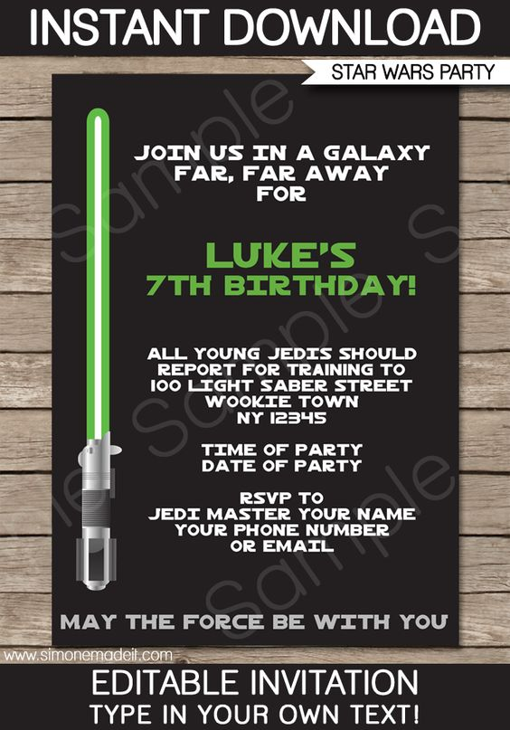 star wars party invitations template  u2013 green  blue  red