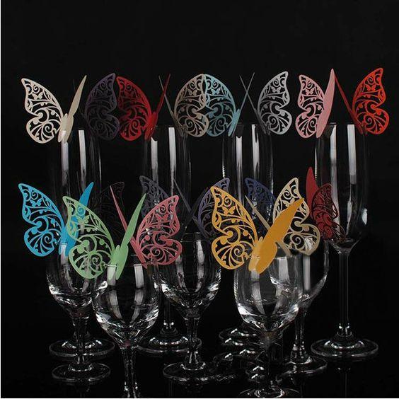 Frete Grátis, Pearl Paper Moda recorte Borboleta Copa do Vidro de vinho faz o cartão da Decoração do bolo Drop Shipping, PP0025-inEvent & Festa ...