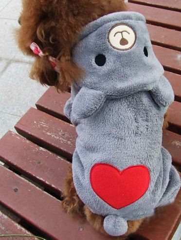 Free shipping!Autumn Winter Pet Clothing,Cute Bear Heart Design Dog Clothes,Coral Fleece Schnauzer Pomeranian Chihuahua Teddy Dog Clothes