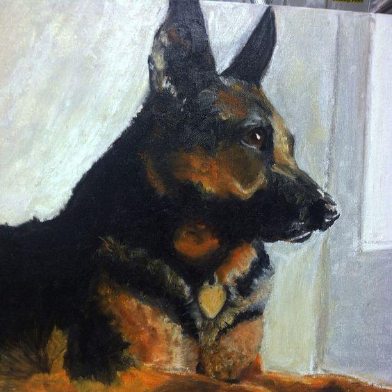 German Shepard dog portrait by grey_ridge_design