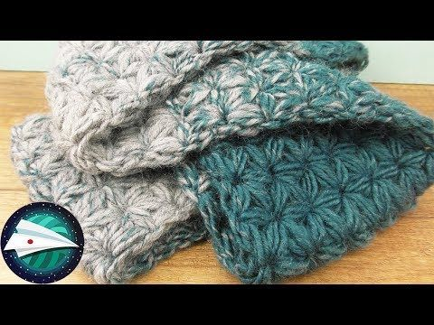 Diy スタークロッシェのマフラーを編んでみよう 簡単 初心者でもできます Youtube かぎ針 編み物 小物 かわいい かぎ針編み