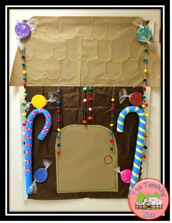 Gingerbread House Bulletin board and other gingerbread fun ideas on The Teaching Zoo blog!