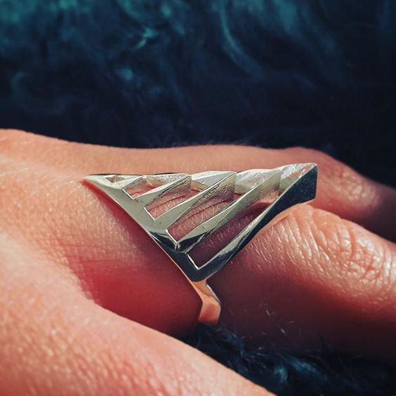 HERE IT IS!!! Our 3D printed geometric 'Rifiron' ring in quality sterling silver :) We think it looks amazing but what do you think? #ring #rings #jewelry #jewellery #pendant #bracelet #necklace #design #designer #3dprinting #love #gold #silver #københavn #smykker #danish #beautiful #geometric #photo #matteblack #etsy #shapeways #3dprinted #fashion #kbh #tech #model #3d #dansk #heart by mbddesign_3d
