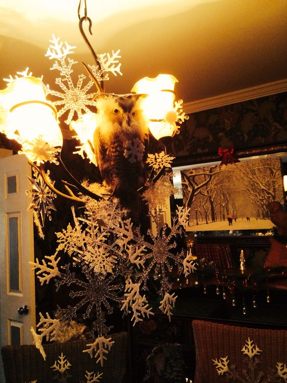 Snow inside where is snow outside!? Hung different size flakes from dollar store made mobile off chandelier.