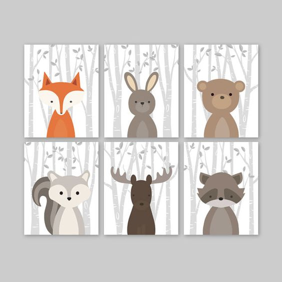 Baby Boy Wall Art for a woodland themed Nursery - Cute forest animals decor for kids bedroom or nursery.  This adorable wall art of six prints