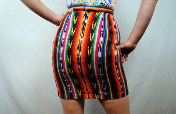 Vintage 80s Ikat Rainbow Mini Skirt by RogueRetro on Etsy, $15.00