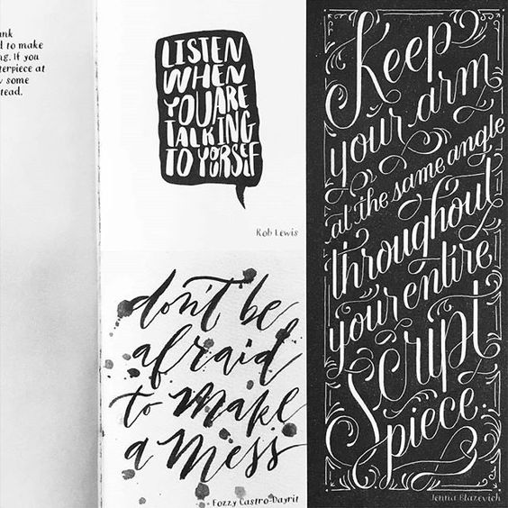 "So much awesome feels, I could cry! My work is alongside those of super cool artists in a book by @cristinavanko called ""Hand Lettering for Everyone"" . I am fan girling and giddy on so many levels. Thank you so much, Cristina, for this opportunity! 