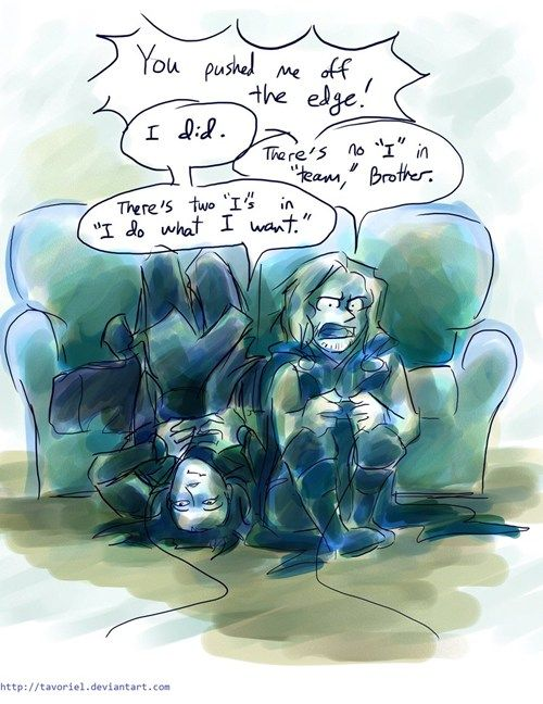 loki and thor playing video games: