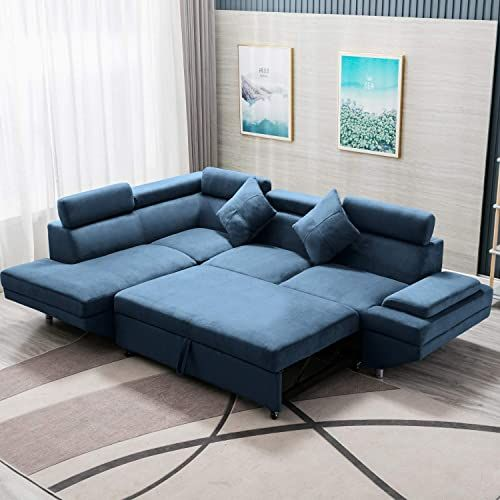 New Sleeper Sofa Bed Sectional Sofa Futon Sofa Bed Sofas Living Room Furniture Set Modern Sofa Set Corner Sofa Contemporary Upholstered Fabric Corner Sofa L B In 2020 Blue Furniture Living