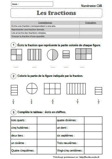 Evaluation Mathematiques Les Fractions Simples Cm1 Cm2 Fee Des Ecoles Exercice Math Cm1 Mathematique Cm1 Evaluation Cm1