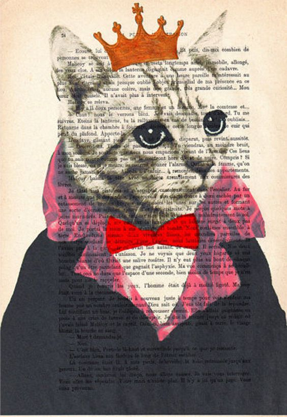 Original King Cat, Art Poster Digital Art Original Illustration Giclee Print Wall art Wall Hanging Wall Decor Animal Painting