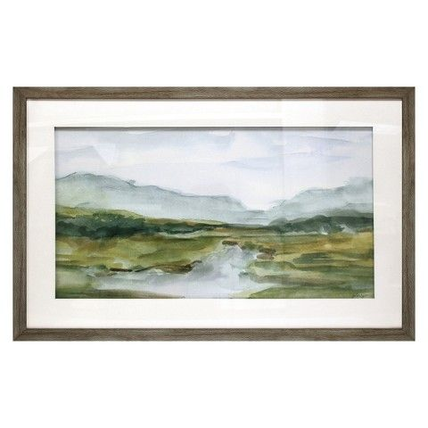 Watercolors watercolor landscape and mantles on pinterest - Landscape paintings for living room ...