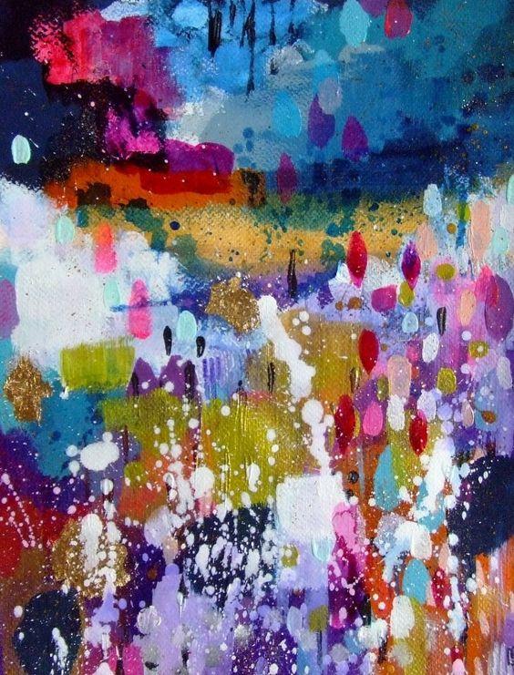 Art abstrait paysage abstrait art contemporain d cor maison art original bleu violet peintures - Tuto peinture abstraite contemporaine ...