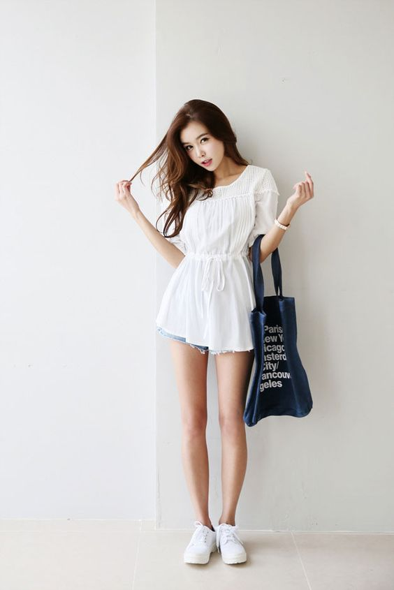 Ruffle Square Blouse Korean Fashion Pinterest