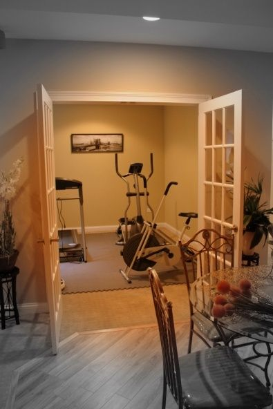 basements french doors and basement workout room on pinterest. Black Bedroom Furniture Sets. Home Design Ideas