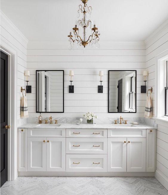 Sconces Beside Mirror Master Bathroom Renovation Shiplap