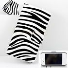 Wallet Design Leather Zebra Line Flip Book Cover Case For Apple iPhone 4 4S 4G