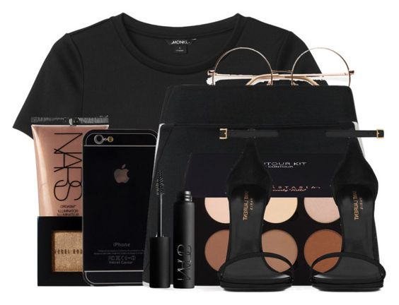 """""""Untitled #749"""" by bunnybear02 ❤ liked on Polyvore featuring Monki, NARS Cosmetics, Bobbi Brown Cosmetics, NIKE, Anastasia Beverly Hills and Yves Saint Laurent"""