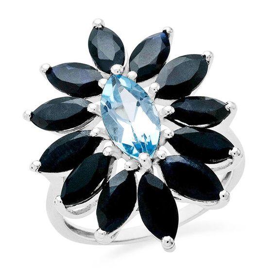 6.88 Carat Genuine Blue Topaz & Blue Sapphire Ring In Sterling Silver #Netaya #GemstoneRing