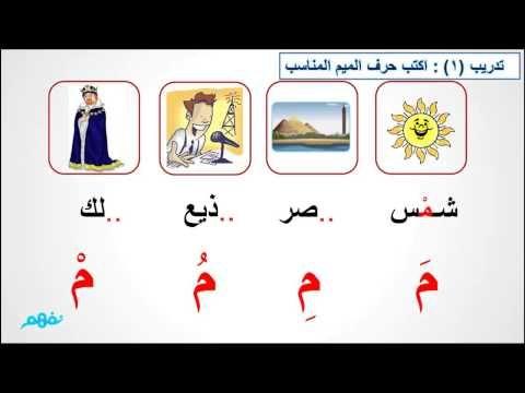 حرف الميم الصف الأول الابتدائي اللغة العربية Youtube Learning Arabic Arabic Resources Teach Arabic