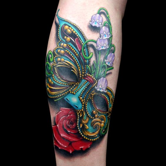 Masquerade mask tattoo by Cleen Rock One. Ink Master. Spiketv