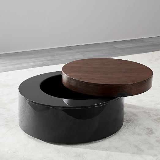 Stacked Disk Storage Coffee Table Walnut Anthracite Walnut