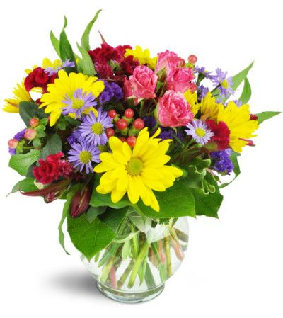 A rainbow of blooms are perfectly perfect for any special occasion! As a birthday celebration, or a hearty congratulations, it's a great way to show how much you care.
