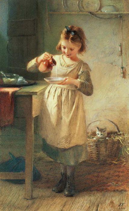 La petite fille avait un ami qui la suivait partout...son tout petit chat...si doux.: