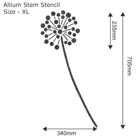 Allium Flower Stem Stencil - Buy reusable wall stencils online at The Stencil Studio