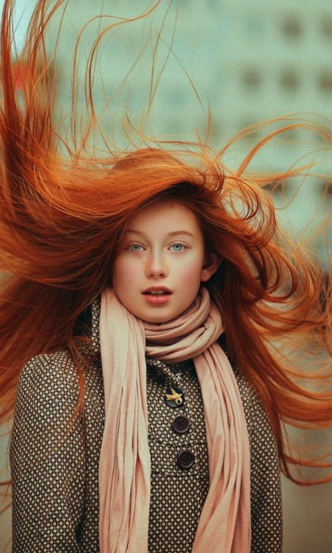 Redhead Hair In Air Gorgeous Girl Model 480x800 Wallpaper Girl Model Girl Girl Photography