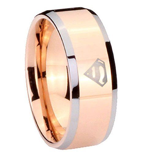 10MM Tungsten Carbide Superman Rose Gold Silver Edges Engraved Ring Size 15 Tungstenmen http://www.amazon.com/dp/B00HZG0JB2/ref=cm_sw_r_pi_dp_xpCdvb1BK6S8T
