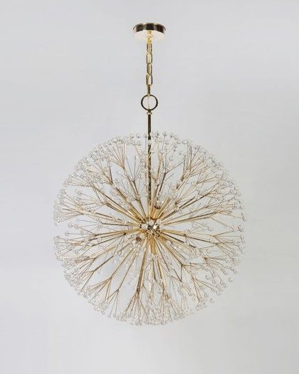 """Dandelion chandelier Inspired by Elsie de Wolfe protege Tony Duquette. Remains Lighting. Why did I only notice now that dandelion ends in """"LION."""" So appropriate for that bright little yellow face that is such a fierce survivor of nature and perfect-lawn addiction."""