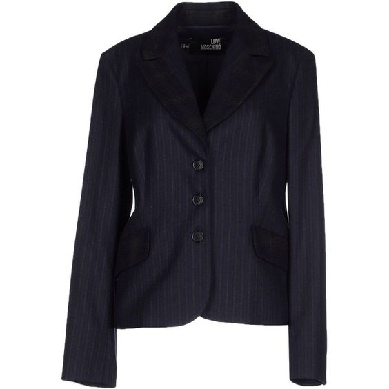 Love Moschino Blazer ($385) ❤ liked on Polyvore featuring outerwear, jackets, blazers, dark blue, blue blazer, flannel blazer, dark blue blazer, long sleeve jacket and pocket jacket