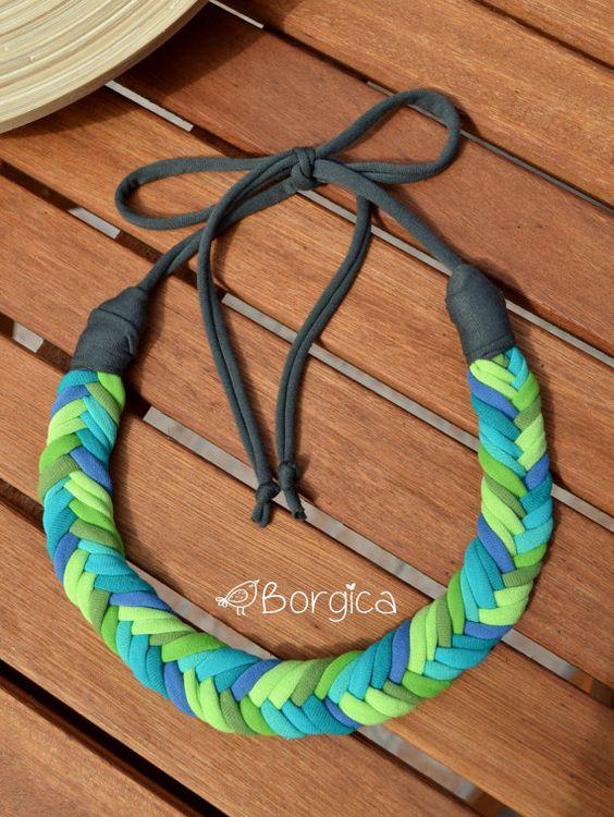Turquoise Blue Lime Ombre Rope Bib Braided Necklace por Borgica