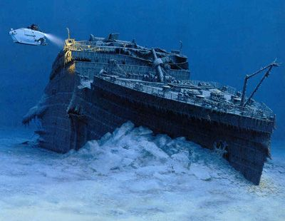 Obviously the Titanic isn't in one piece on the ocean floor. She's actually in three pieces. While most think she broke in half as she sank, there is no proof as to whether it was above or below the surface as eye witnesses contradict. Science seems to think the bottom broke off as the stern raised.
